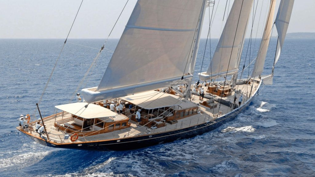 """alt=""""Yachting boat Athos on the ocean"""""""